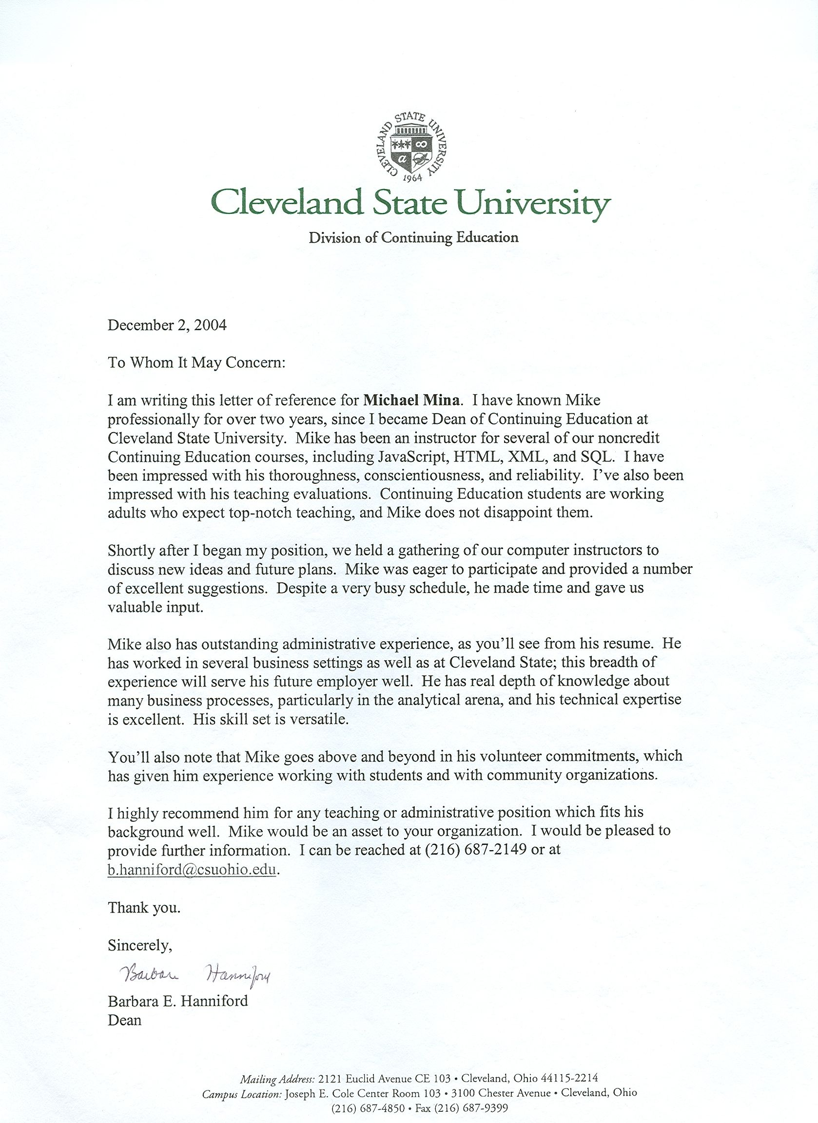 letters of recommendation for education
